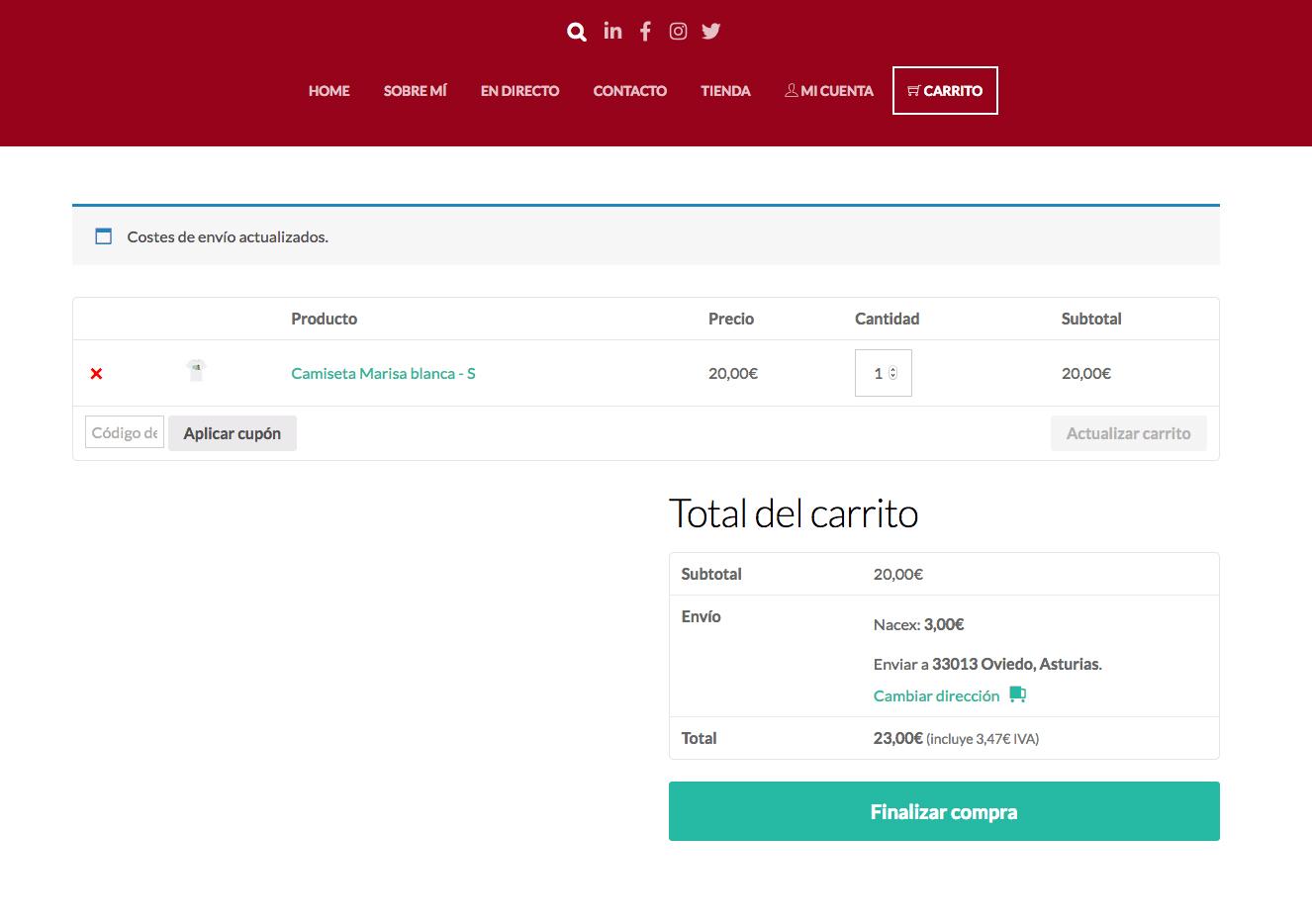 Te aparecerá el precio de los datos de envío (3 euros) y ya puedes darle al botón verde de FINALIZAR COMPRA.